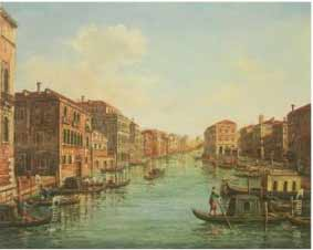 The painting of Venice after restoration. The painting has been completely repaired, and the discolored varnish has been removed, revealing the painting's true colors.