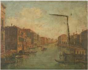 Damaged oil painting of Venice before restoration. The canvas is torn and in need of repair.