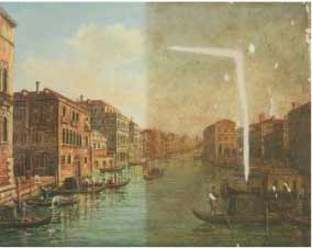 The painting of Venice during restoration. Half of the painting has been cleaned and the the tears have been patched.